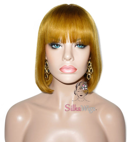 Blonde Bob with Bangs 100% European Virgin Human Hair Silk Top Base Wig