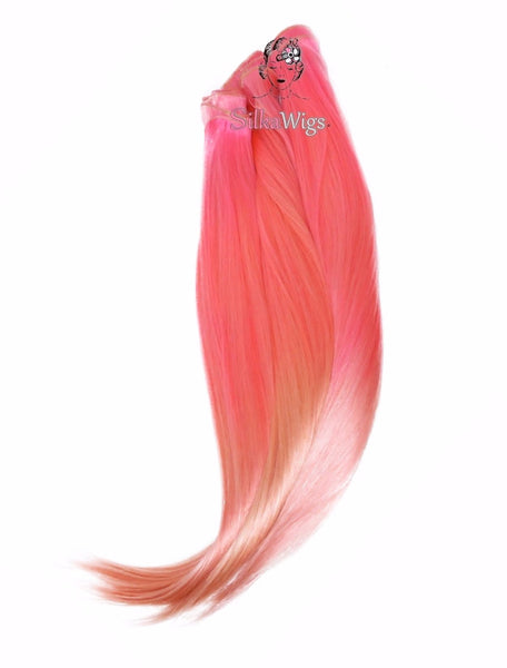 Pastel pink hair extension, rainbow hair, clip in hair extension