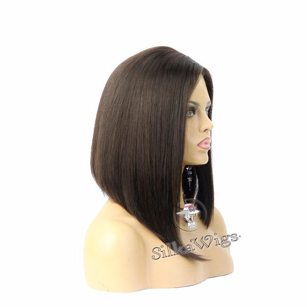 Bob Style Wigs with Side Parting 100% Human Hair Full Lace Wig