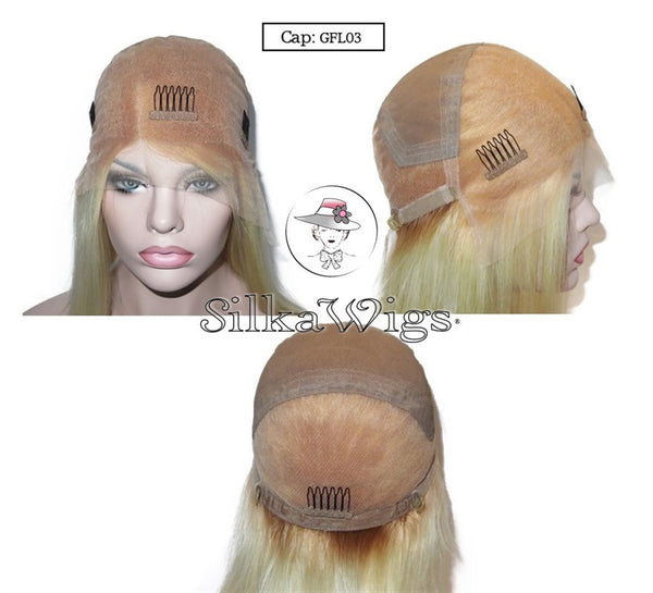 Dark Root To Blonde Bob Full Silk Top Base Wig 100% Human Hair