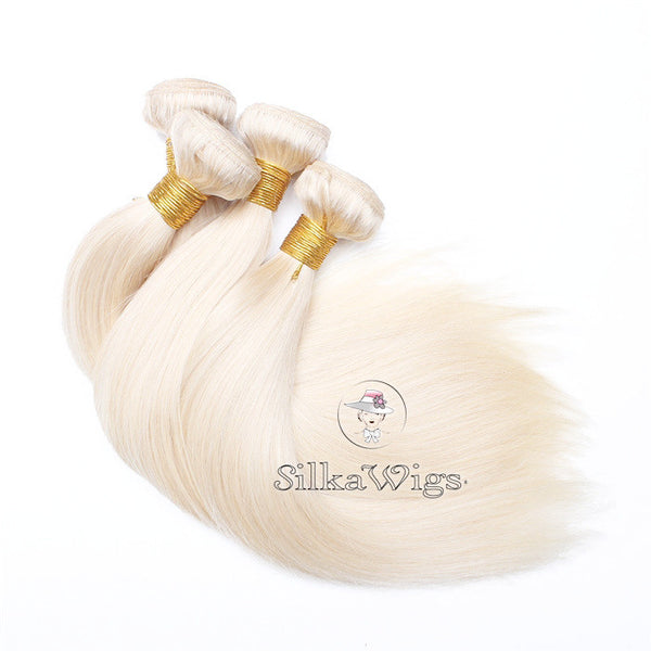 Silky Straight Platinum Blonde 100% Human Hair Weave