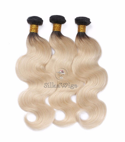 wavy  Blonde Ombre 100% Brazilian Virgin Human Hair Weave
