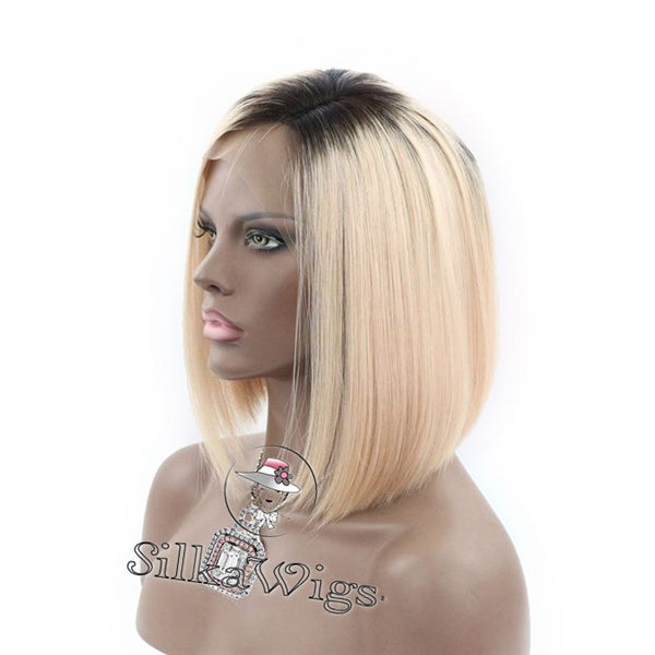 ombre bob lace wig dark root blonde