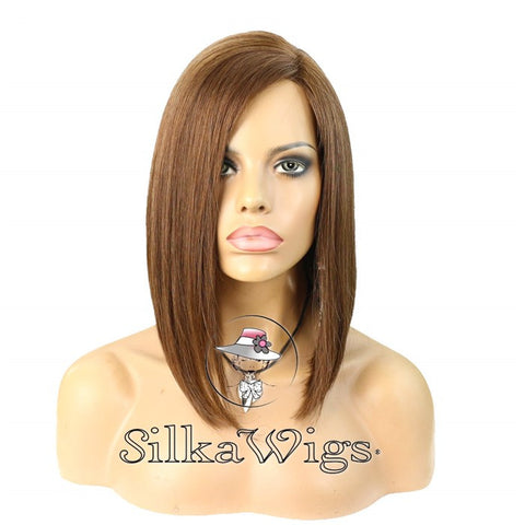 Bob cut hairstyle brown color human hair lace wigs