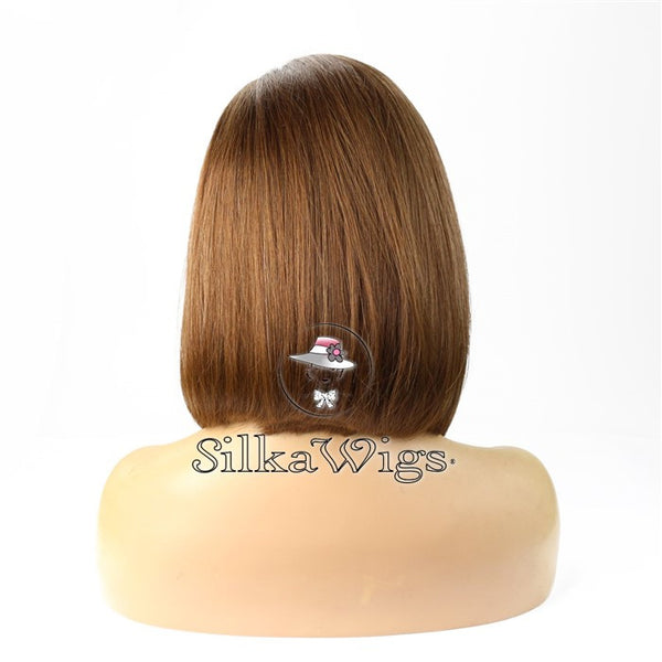 Dark Brown Bob Cut 100% European Virgin Human Hair Silk Top Base Full Wig
