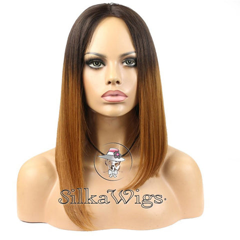 100% Human Hair Dark Root To Auburn Asymmetrical Bob Lace Front Wig