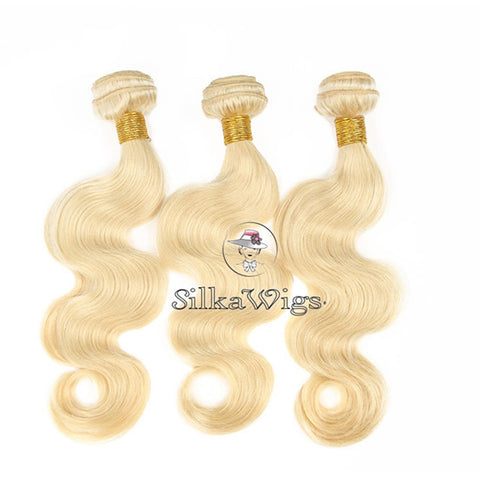 Blonde Virgin Human Hair Silk Straight Weave Extension