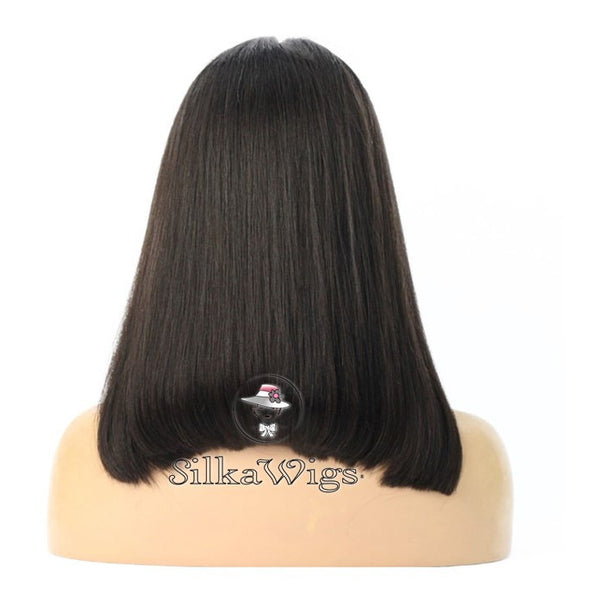 Bob Style Cut Silk Top Base Lace Wig 100% European Human Virgin Hair