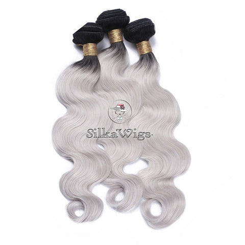 Grey hair extensions