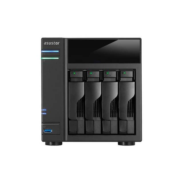 ASUSTOR AS6104T Intel Celeron a 1,6 GHz / 2 GB DDR3L / 2GbE / 2eSATA / USB3.0 / NAS de 4 bahaeas de escritorio