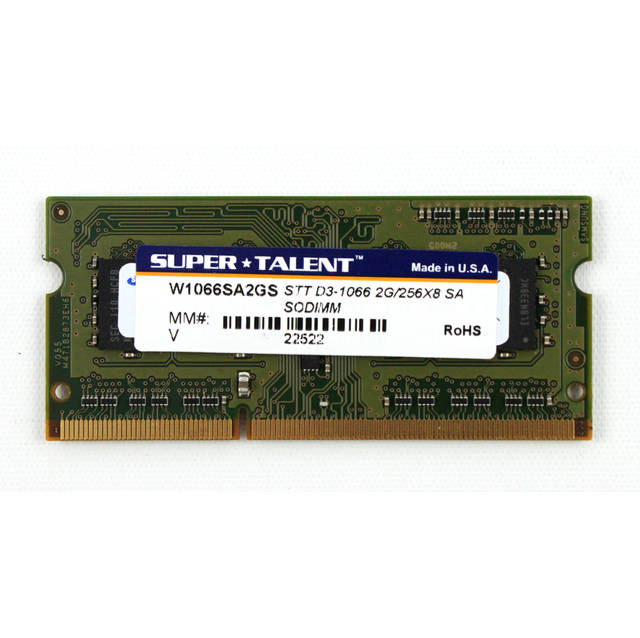 Super Talent DDR3-1066 SODIMM 2GB / 256Mx8 Samsung chip de memoria portaetil