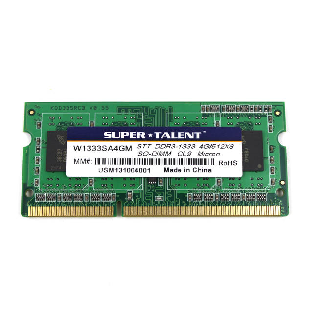 Super Talent DDR3-1333 SODIMM 4GB / 512Mx64 CL9 Micron chip de memoria portaetil