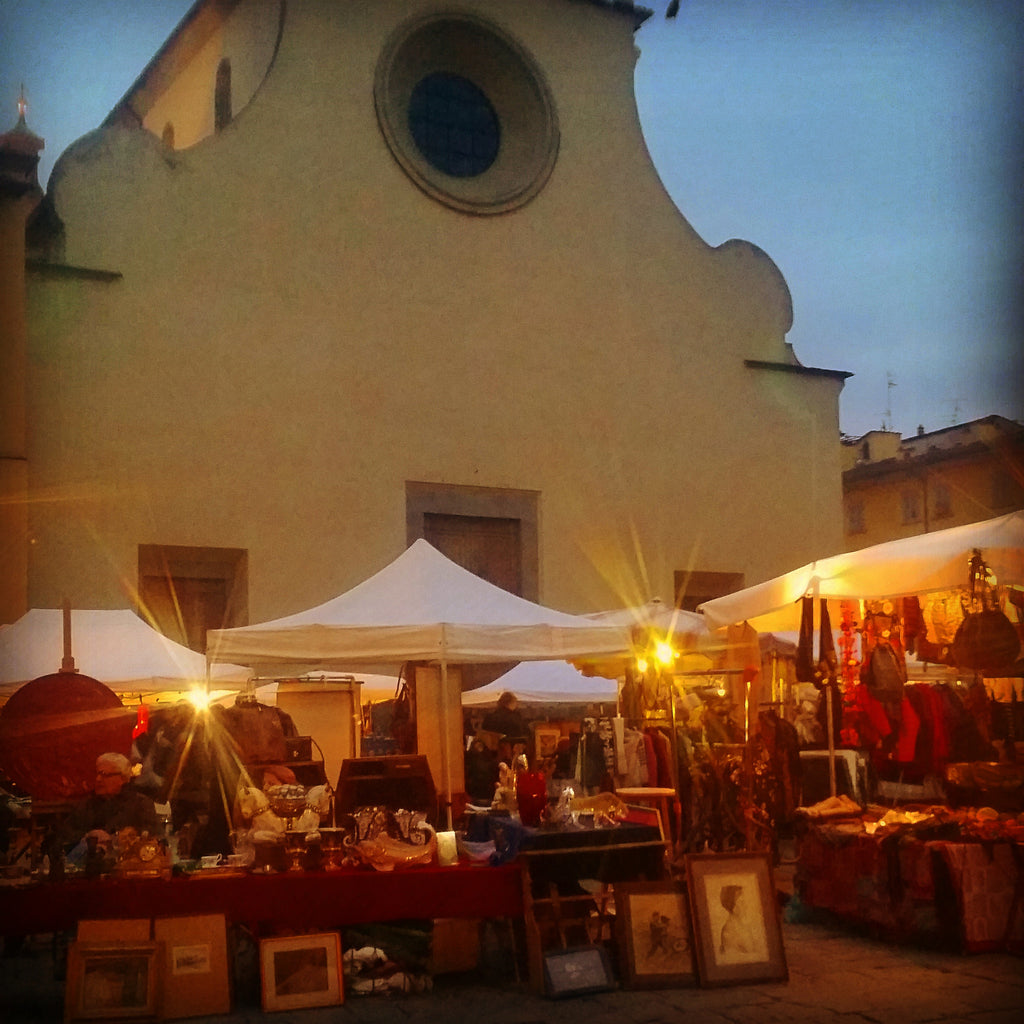 Shopping at the Santo Spirito Market,  Florence Italy