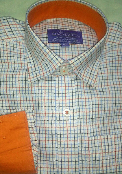 Soft twill orange and blue check with solid orange