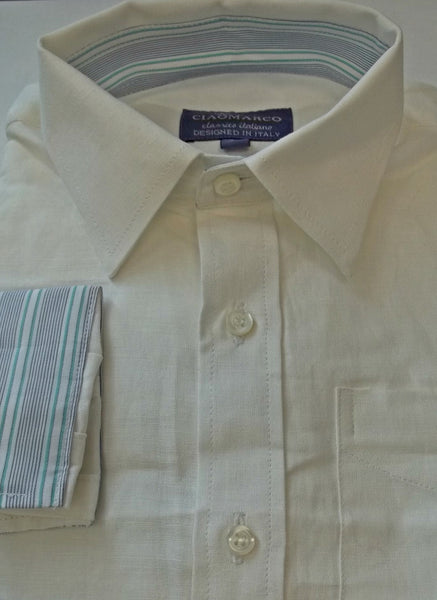 White linen shirt with blue and green stripe