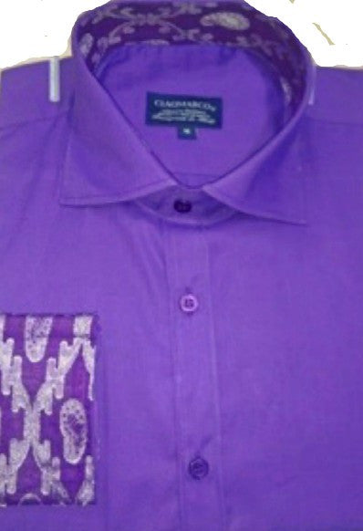 Solid Purple shirt  with Elegant silver design cuff and collar