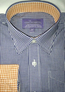 Navy Gingham shirt with orange gingham - CiaoMarco