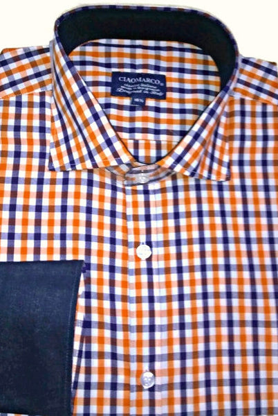 Navy and Orange gingham with Navy linen cuff and collar