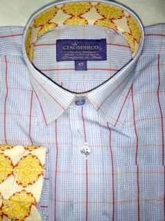 Light Blue and orange plaid with gold circle print - CiaoMarco