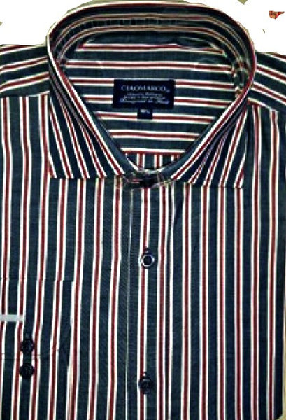 Navy red stripe   100% cotton shirt