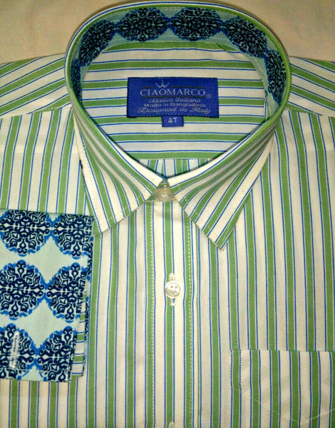 Green Stripe with blue print cuff and collar
