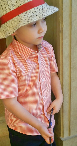 Short Sleeve Orange gingham shirt with blue sea crest print