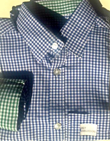 Blue gingham with green gingham cuff and collar - CiaoMarco