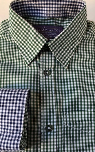 Green gingham with navy gingham cuff and collar - CiaoMarco