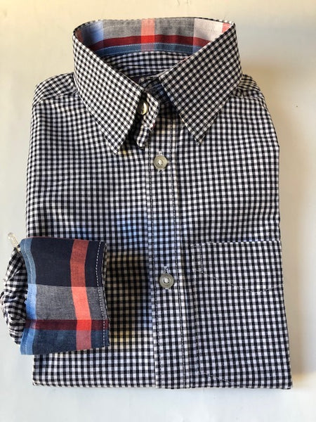 Dark Navy gingham with spring color plaid - CiaoMarco