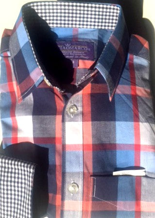 Classic plaid with navy gingham cuff and collar - CiaoMarco