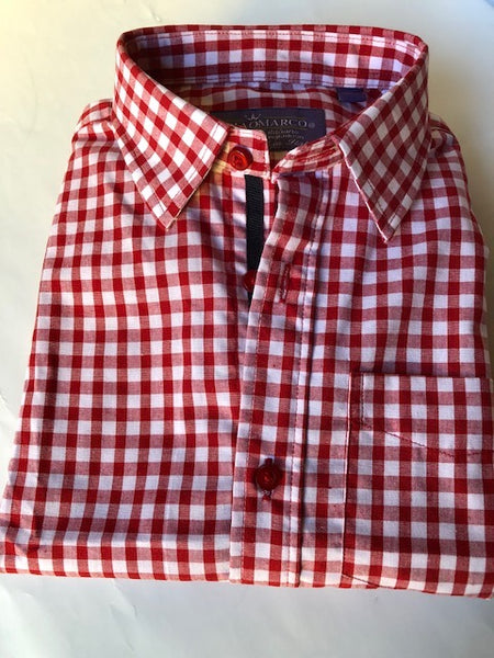 Red gingham with navy stripe inside placket