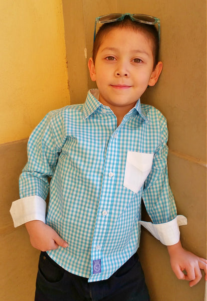 Teal Gingham with white accents Ciao Marco Boys shirt