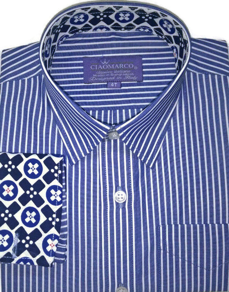 Royal blue pinstripe with blue domino print shirts
