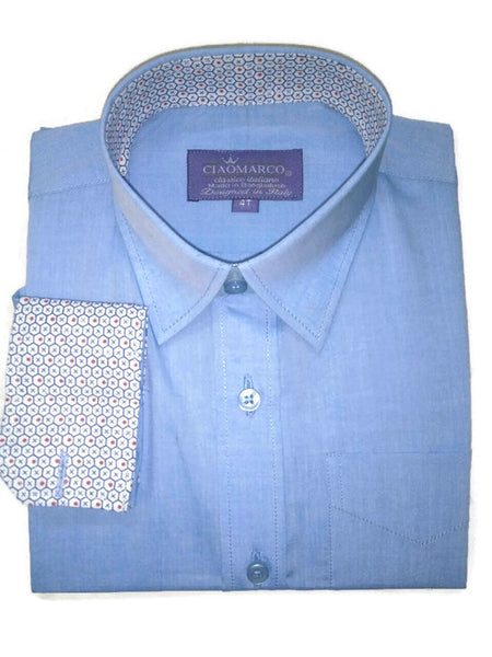 Solid sky blue 100% cotton shirt with blue and red dot print
