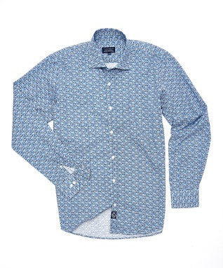 Blue flower print 100%cotton men shirt