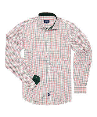 Orange and Green Check 100 % imported cotton shirt with hunter green cuff and collar