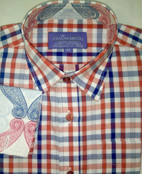 Red White and Blue check  Boys shirt