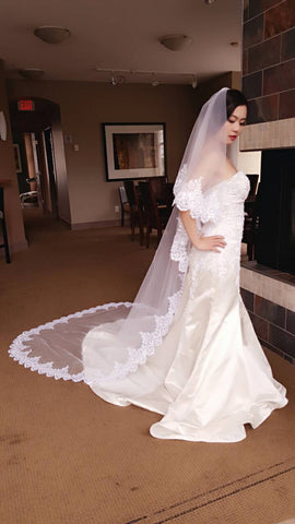 "2 Tiers Cathedral Length Veil with Eyelash Lace Edge with Sequins (lace ""B"")"