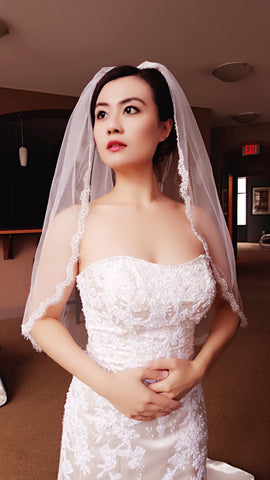 1 Tier Scalloped Eyelash Lace Veil with Pearls