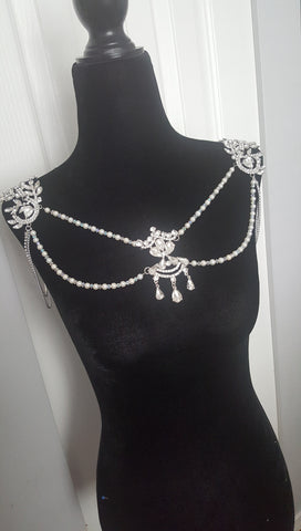 Silver Tone 1920 Gatsby Crystals Shoulder Chain