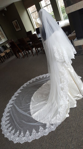 "2 Tiers Cathedral Length Full Lace with Sequins 120"" x 108"" (Lace ""K"")"