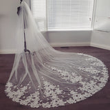 2 Tiered Dramatic Bridal Veil French Lace Appliques Cathedral Length