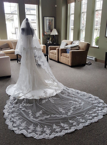 2 Tiers Snowflake Design Dramatic Cathedral Lace Veil With Blusher
