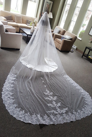 1 Tier Dramatic Royal Length Lace At Bottom with Appliques