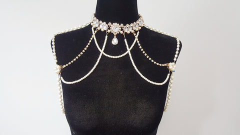 Gold Tone 1920 Gatsby Crystals Collar Shoulder Chain Necklace