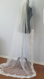 1 Tier Floor Length Veil Partial French Alencon Lace
