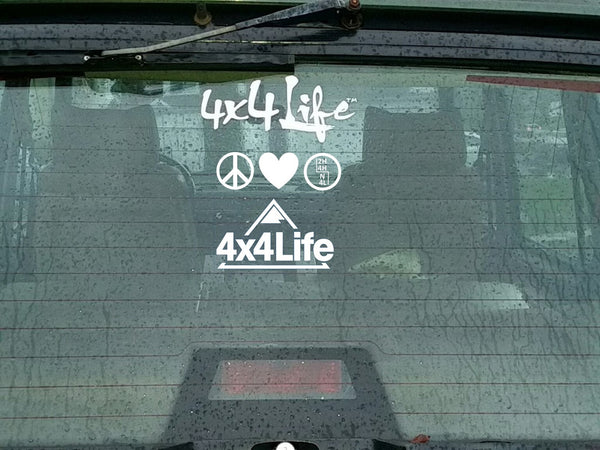 Peace, Love, 4-Wheel Drive® - Vinyl Transfer Decal (White or Black)