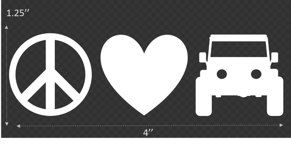 Peace. Love. 4-Wheel Drive.® Mini Transfer Decal