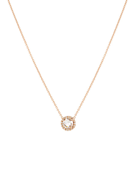 Rose Cut Diamond Necklace with a Diamond Halo