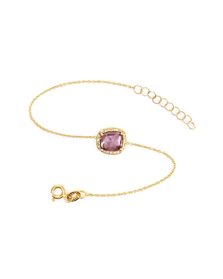 Purple Sapphire Chain Bracelet with Diamonds